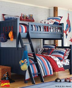 pb kids bedding including, sheets, duvet AND quilt on top and bottom bunk.  one euro  quilted sham, standard quilted sham, and stan pw case.  Change theme to stars-  pb kids navy star quilt top and bottom, standard quilted sham (navy star) top and bottom.  Navy gingham sheets top and bottom, duvet cover in varsity stripe, navy cargo or navy chamois ???