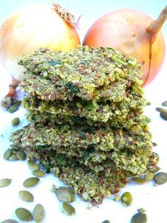 Savory Pumpkin-Flaxseed-Onion Crackers