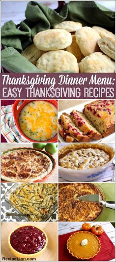 Thanksgiving Dinner Menu: 22 Easy Thanksgiving Recipes - Thanksgiving side dishes, turkey recipes, delicious Thanksgiving dessert recipes and more!