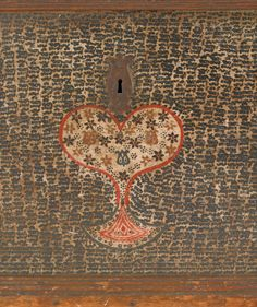 """Pennsylvania, probably Dauphin County, painted blanket chest, ca. 1795, the ends decorated with floret and tulip stenciled ovals, the front with similarly decorated panels with central red and green stars flanking a stylized heart, all on an intricately stenciled ground, the interior is fitted with a till and serpentine wrought iron hinges, 22 1/2"""" h., 51"""" w., 23"""" d. Provenance: Elwood Heller Auction, Lebanon, New Jersey."""