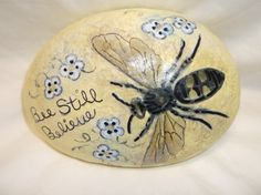 Hand+painted+bee+on+river+rock.+Soft+yellow+with++by+Wendysartshop,+$20.00