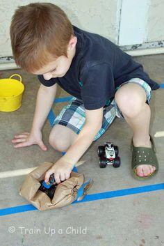 classroom idea, monster trucks, gavin idea, learn, children, train, kid kiddi, kid stuff, gross motor activities