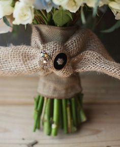 Bouquet With Burlap tied handle