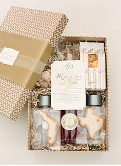 Gorgeous wedding welcome box featuring our gold + kraft Eastham keepsake box