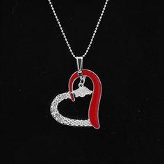 Arkansas Razorbacks Women's Heart Necklace - Cardinal
