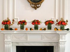 autumn flowers, fireplace mantles, fall mantels, decorating ideas, fireplace mantels