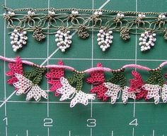 Flat oya and beaded lace♪ ♪ ... #inspiration_crochet #diy GB