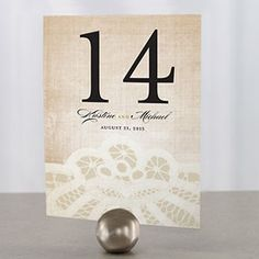 printed lace table number at wedding reception