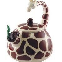teapot, teakettl, 25 quart, anim kettl, teas, enamel, giraff tea, tea kettles, giraffes