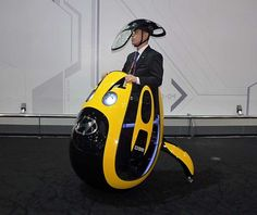 Egg-shape personal transport, Hyundai E4U. This isn't a speed racer though, it only maintains a walking pace.