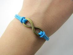 Blue Rope Steampunk Bracelet Antique Bronze karma by sevenvsxiao, $2.59