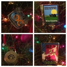 Decorate your tree with race medal-ornaments. Cute idea!