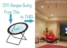 2-for-1 idea here! Bungee chairs are cheap at Target for $30. You can also use this project to turn that chair into a custom swing. |  Holly's Arts and Crafts Corner: DIY Project: Basement Bungee Swing bungee chair swing, autism crafts for kids, diy swing chair, craft corner, autism swing, cheap swing chairs, cheap basement ideas, bungee swing, swings for basement