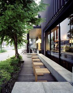 In Kyoto, Japan, this LEED-certified Starbucks store includes tabletops made with bamboo and a serene outdoor patio, perfect for a quick getaway from the bustling Kyoto Research Park. starbuck store, starbucks store