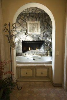 arch, bathroom, bubble baths, stone fireplaces, bath design