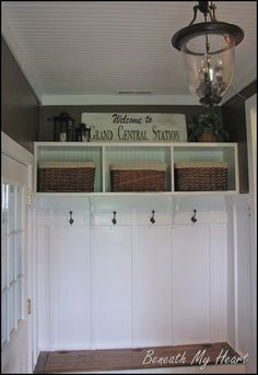 Love this!  Board and Batten plus wainscoting in the shelves and ceiling!