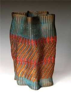 "Frances Solar   ""Vessel"". Loom woven, copper wire, patina,"