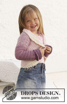 "Free pattern! Crochet DROPS circle jacket in 2 strands ""BabyAlpaca Silk"". Size 3 - 12 years."