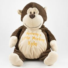 Have any name or message personalized! Embroiderable Monkey plush #gift #thingsengraved #thingsengravedgifts