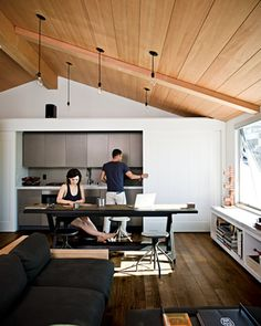 Dwell | At Home in the Modern World: Modern Design & Architecture kitchens, the doors, living rooms, floor, hous, wood ceilings, small spaces, manhattan beach, sliding doors