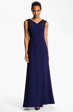 BCBGMAXAZRIA Scoop Back Lace Inset Crepe Gown | Nordstrom