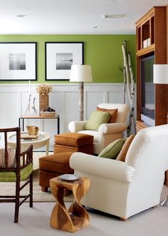 faux wall paneling and green paint