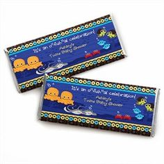 Twin Under The Sea Critters - Personalized Candy Bar Wrapper Baby Shower Favors. Go to: http://www.modern-baby-shower-ideas.com/fun-baby-shower-ideas.html use coupon code: modern11 and save 11%