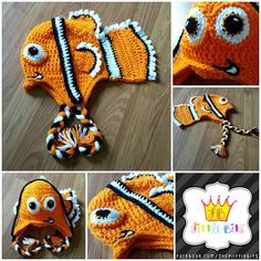 "One of the custom designed crochet hats that I've made.  Little Bits by Shawna. Custom crochet hats, bows, and other ""little bits"" for all the Littles in your life!  Follow this pinboard to see all the new hats/items I make.  Also, follow me on Facebook here: www.facebook.com/shoplittlebits  nemo inspired character crochet earflap hat #nemo #crochet #fish #clownfish #earflap #beanie #character #hat #littlebits #shoplittlebits"