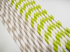Grey & Lime Green White Striped Paper Straws
