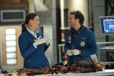 """Emily Deschanel and TJ Thyne behind the scenes of """"The Bump In The Road"""" episode of BONES on FOX."""
