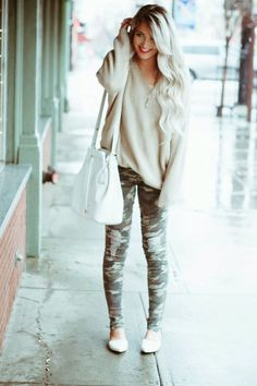white hair, camo style, cara loren, camo pants outfits, fashion websites, fall outfits, ballet, oversized sweaters, bags