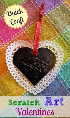Quick Craft: Scratch Art Valentines #kidscrafts #parenting #valentinesDay #creativePlay #ece #preschool #homeschool