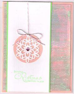 Pink, green velum christmas card