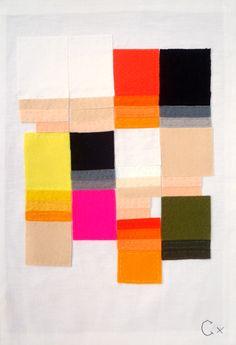 Rachel Castle - Felt and linen on vintage linen