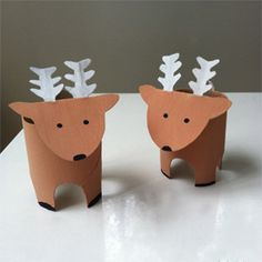 An easy reindeer decoration crafted from a toilet roll.