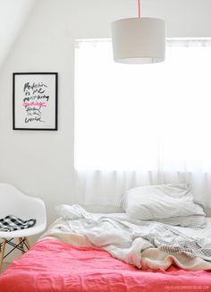 pops of color on white / bedroom