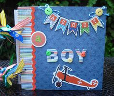 Scrapbook Album,   Boy Mini Album, Handmade Mini Album,  Srapbook Mini album,  Mini Album, Birthday Gift. $49.50, via Etsy.