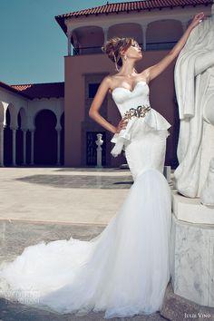 ♡ Inspiration for Bridal shoots and bridal fashion shoots with Adagio Images: www.adagio-images... and www.facebook.com/... | #bridal #whitedress #bridalinspiration ♡ julie vino 2014 bridal strapless peplum mermaid wedding dress gold belt