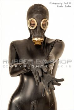 This Total Enclosure Rubber Catsuit is every rubber lovers dream. Fully encased it has attached feet, gloves and black Russian gasmask. It has a long 4 way through crotch back zip so access all areas. The one pictured has been chlorinated for that super smooth silky rubber feeling. Male fit also available.