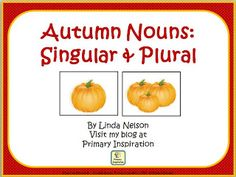 FREE card sort for singular and plural autumn nouns