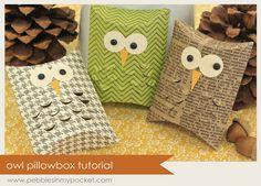 owl pillows, pillow box, gift boxes, tutorials, craft idea, pockets, owl box, blog, owls