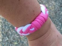 T Shirt Jersey Pink and White Bracelet One Size Fits All