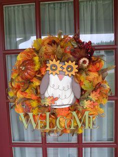 Harvest Fall Owl Deco Mesh Door Wreath