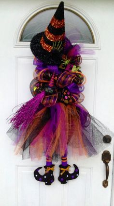 Craft Ideas with Mesh Ribbon | Witch wreath by Wreaths by Rita