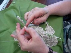 "Máire Treanor working filling stitch on a Wild Rose Garden pattern from her book ""Clones Lace."""