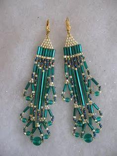 Turquoise Beaded Earrings With Bugle Beads