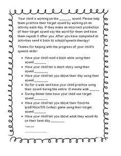 Freebie- Speech Therapy Homework for any sound!