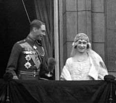 The Queen Mother and King George VI on the balcony on their wedding day.