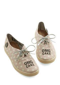 So Much Yes Sneaker. The rosy hue, the crme dots, the affirmation of your fave dessert - these sneakers by Loly in the sky are where its at. #gold #prom #modcloth