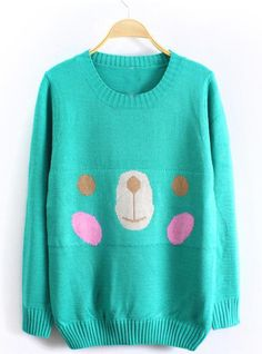 Lovely Bear Long Sleeve Green Sweater$39.00